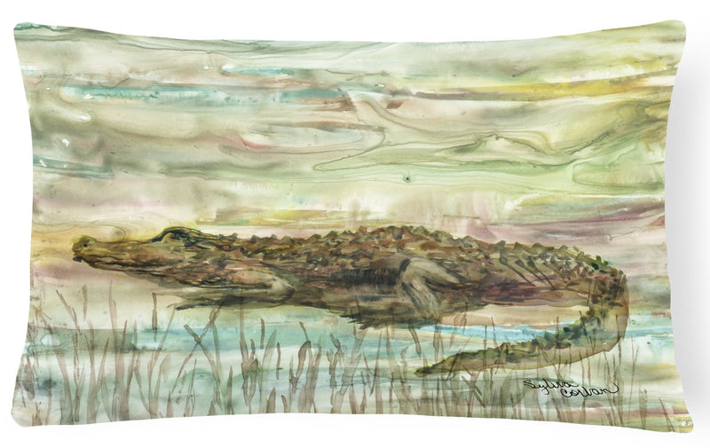 Alligator Sunset Canvas Fabric Decorative Pillow SC2016PW1216 by Caroline's Treasures