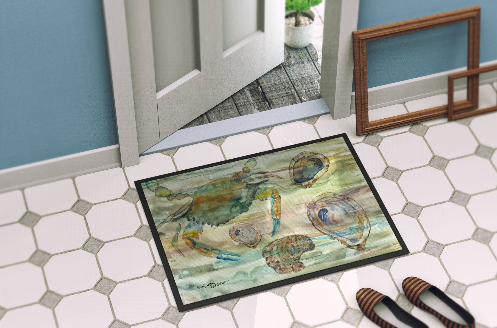 Crab, Shrimp and Oyster Sunset Indoor or Outdoor Mat 24x36 SC2017JMAT by Caroline's Treasures