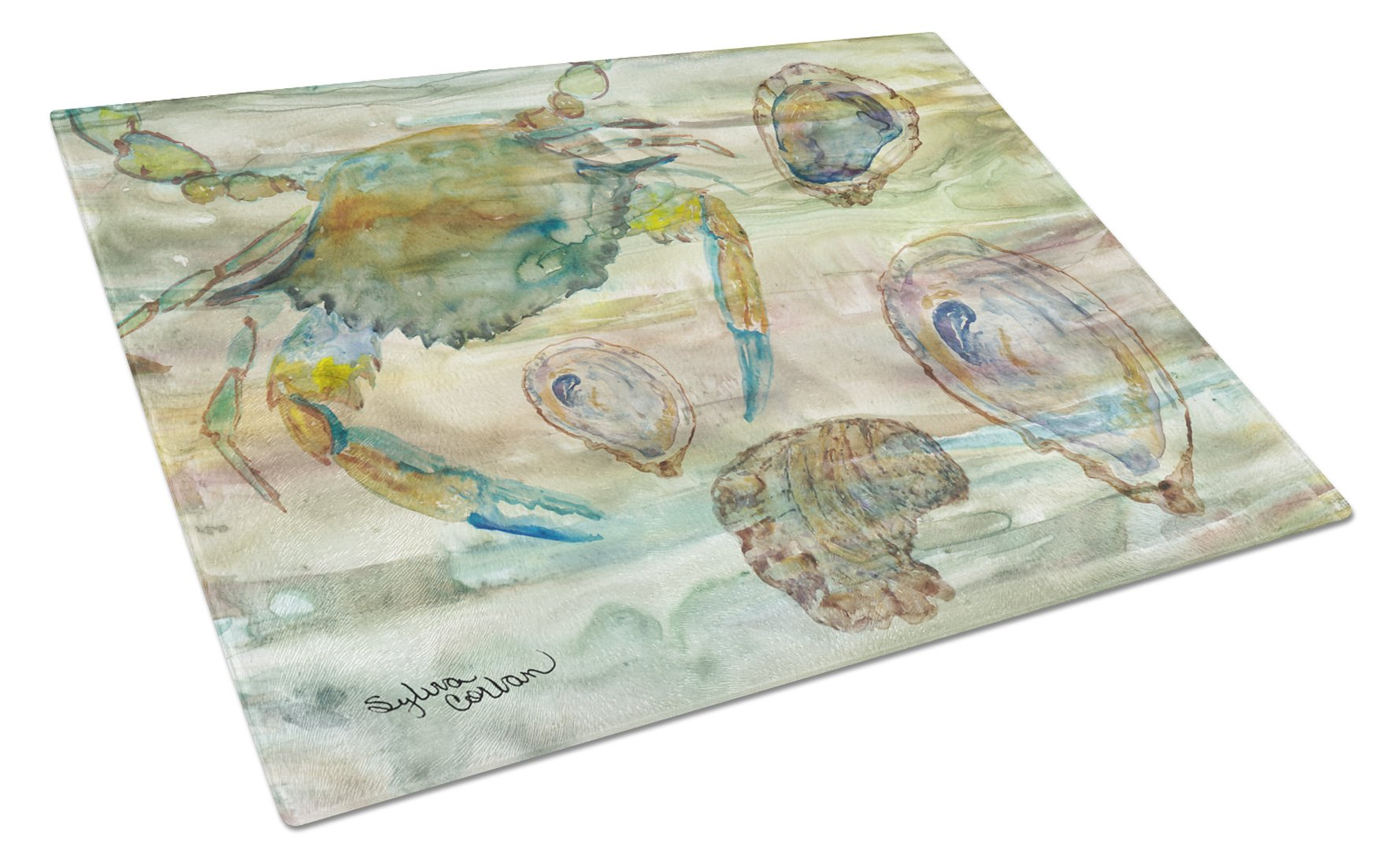 Buy this Crab, Shrimp and Oyster Sunset Glass Cutting Board Large SC2017LCB