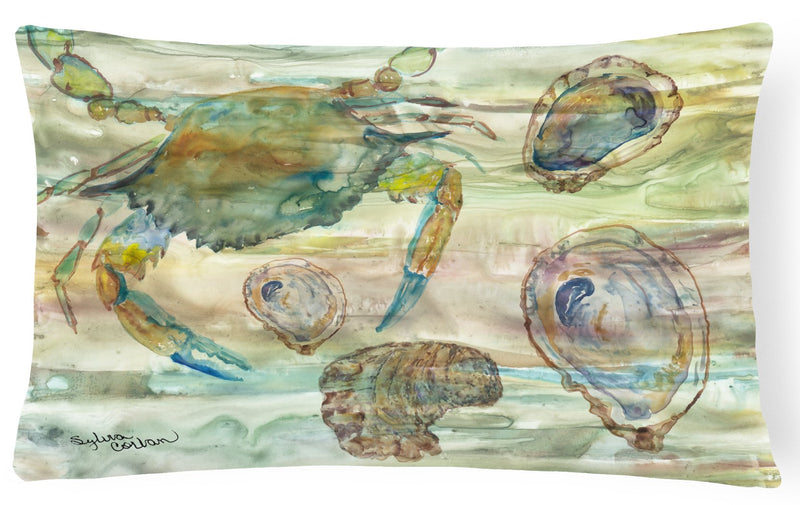 Crab, Shrimp and Oyster Sunset Canvas Fabric Decorative Pillow SC2017PW1216 by Caroline's Treasures