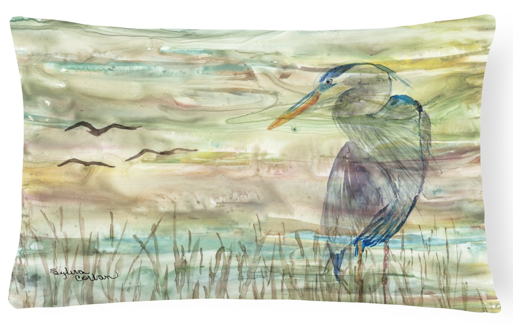 Buy this Blue Heron Sunset Canvas Fabric Decorative Pillow SC2019PW1216