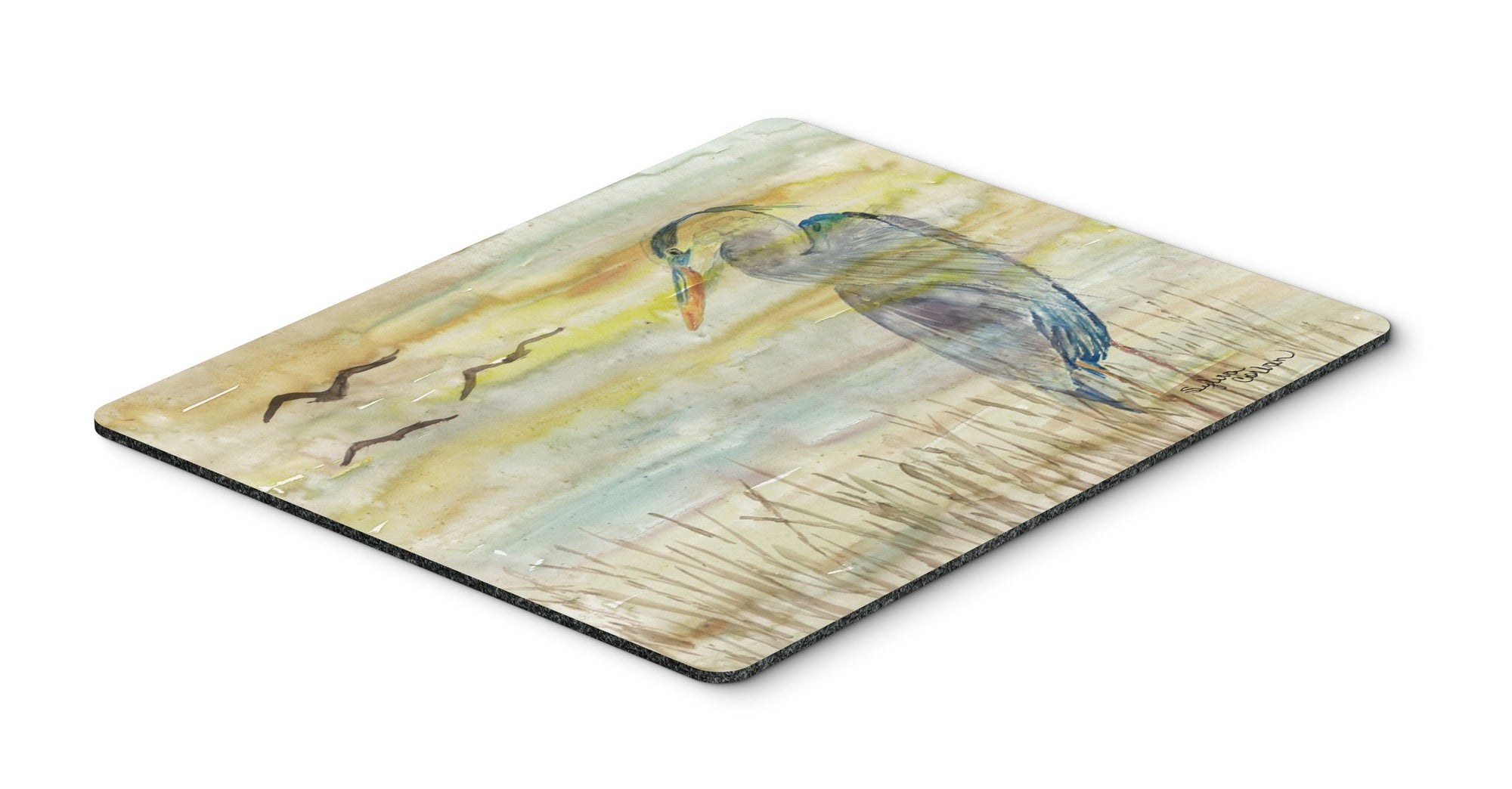 Buy this Blue Heron Yellow Sky Mouse Pad, Hot Pad or Trivet SC2020MP
