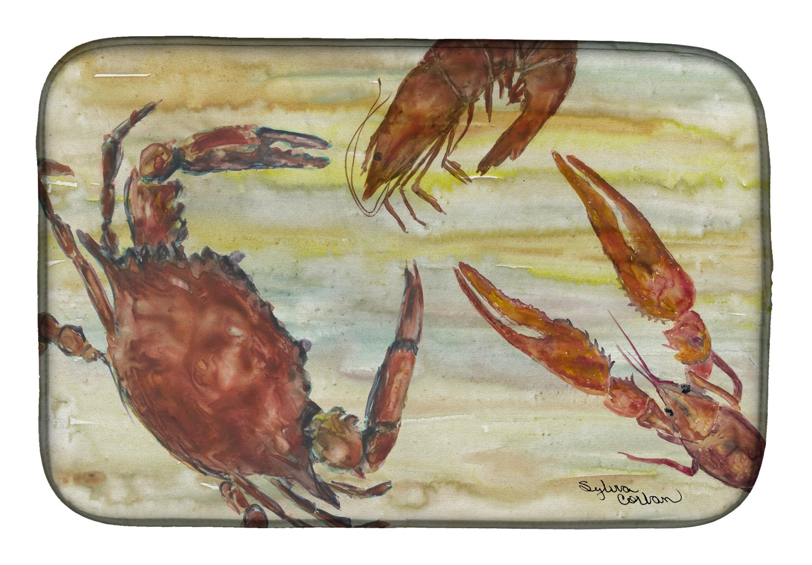 Buy this Crab, Shrimp, Oyster Yellow Sky Dish Drying Mat SC2023DDM