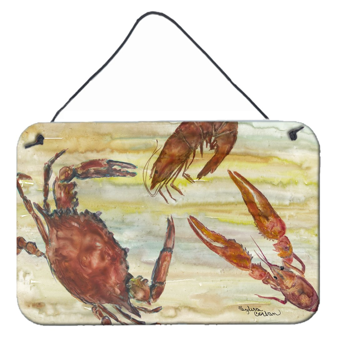 Crab, Shrimp, Oyster Yellow Sky Wall or Door Hanging Prints SC2023DS812 by Caroline's Treasures