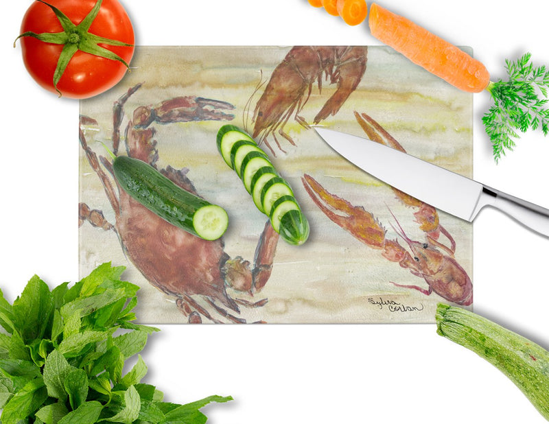 Buy this Crab, Shrimp, Oyster Yellow Sky Glass Cutting Board Large SC2023LCB