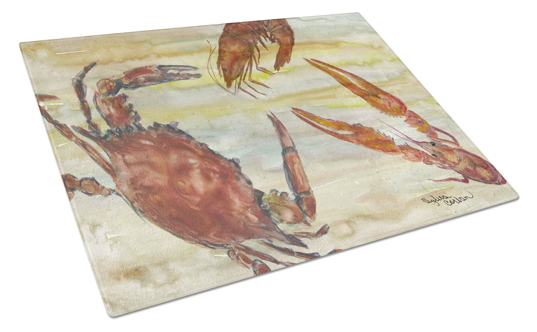 Crab, Shrimp, Oyster Yellow Sky Glass Cutting Board Large SC2023LCB by Caroline's Treasures