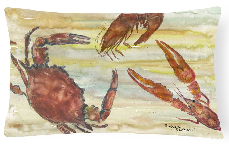 Buy this Crab, Shrimp, Oyster Yellow Sky Canvas Fabric Decorative Pillow SC2023PW1216