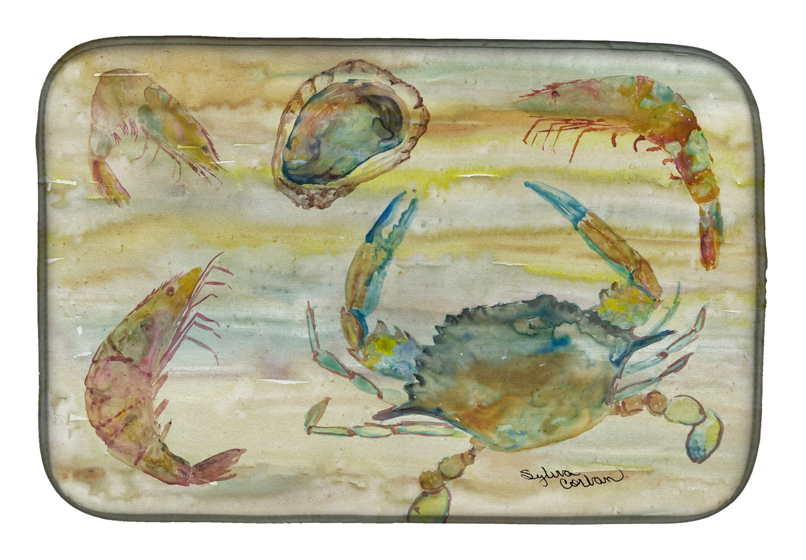 Crab, Shrimp, Oyster Yellow Sky Dish Drying Mat SC2026DDM by Caroline's Treasures