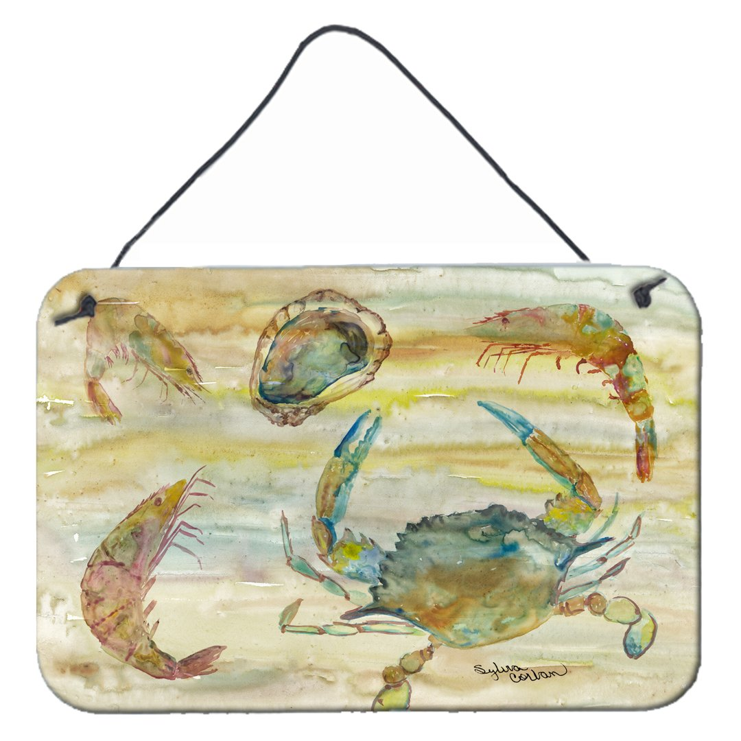 Crab, Shrimp, Oyster Yellow Sky Wall or Door Hanging Prints SC2026DS812 by Caroline's Treasures