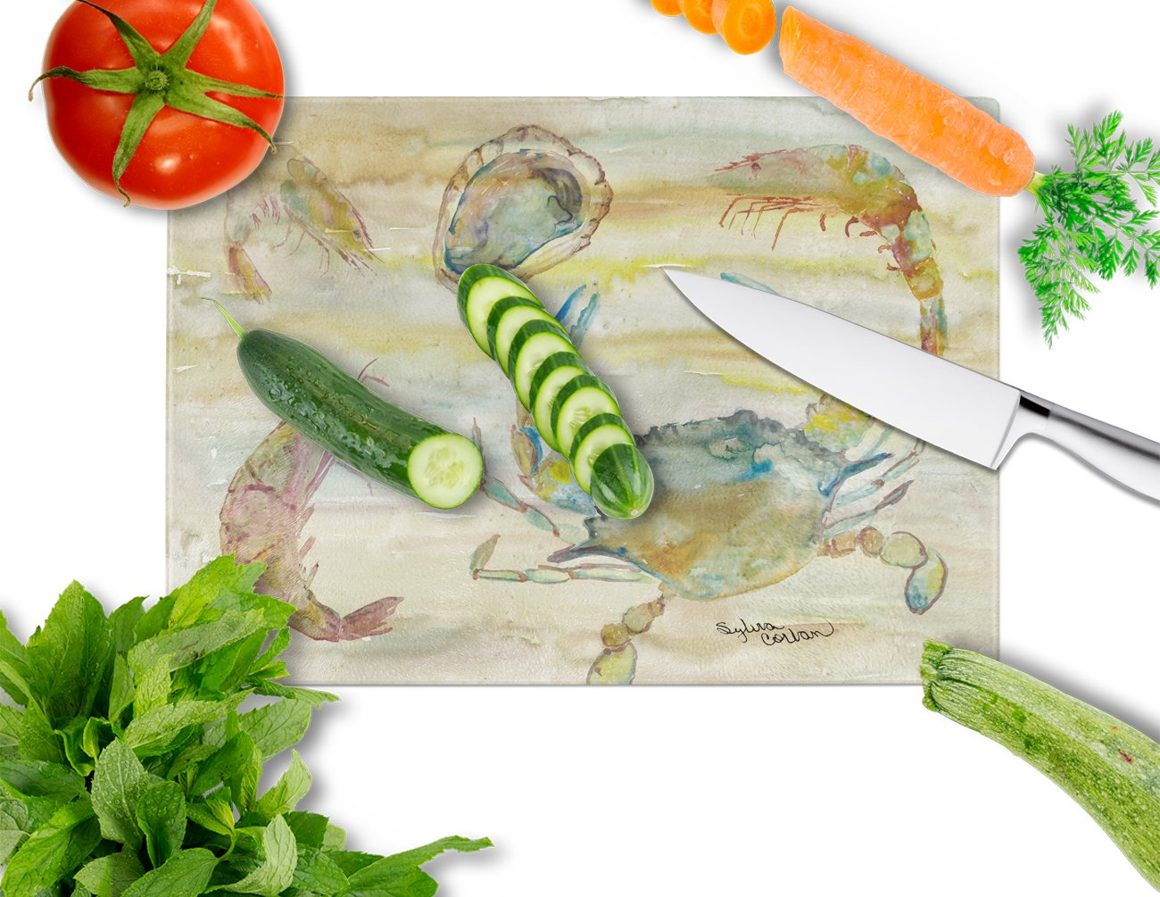 Crab, Shrimp, Oyster Yellow Sky Glass Cutting Board Large SC2026LCB by Caroline's Treasures