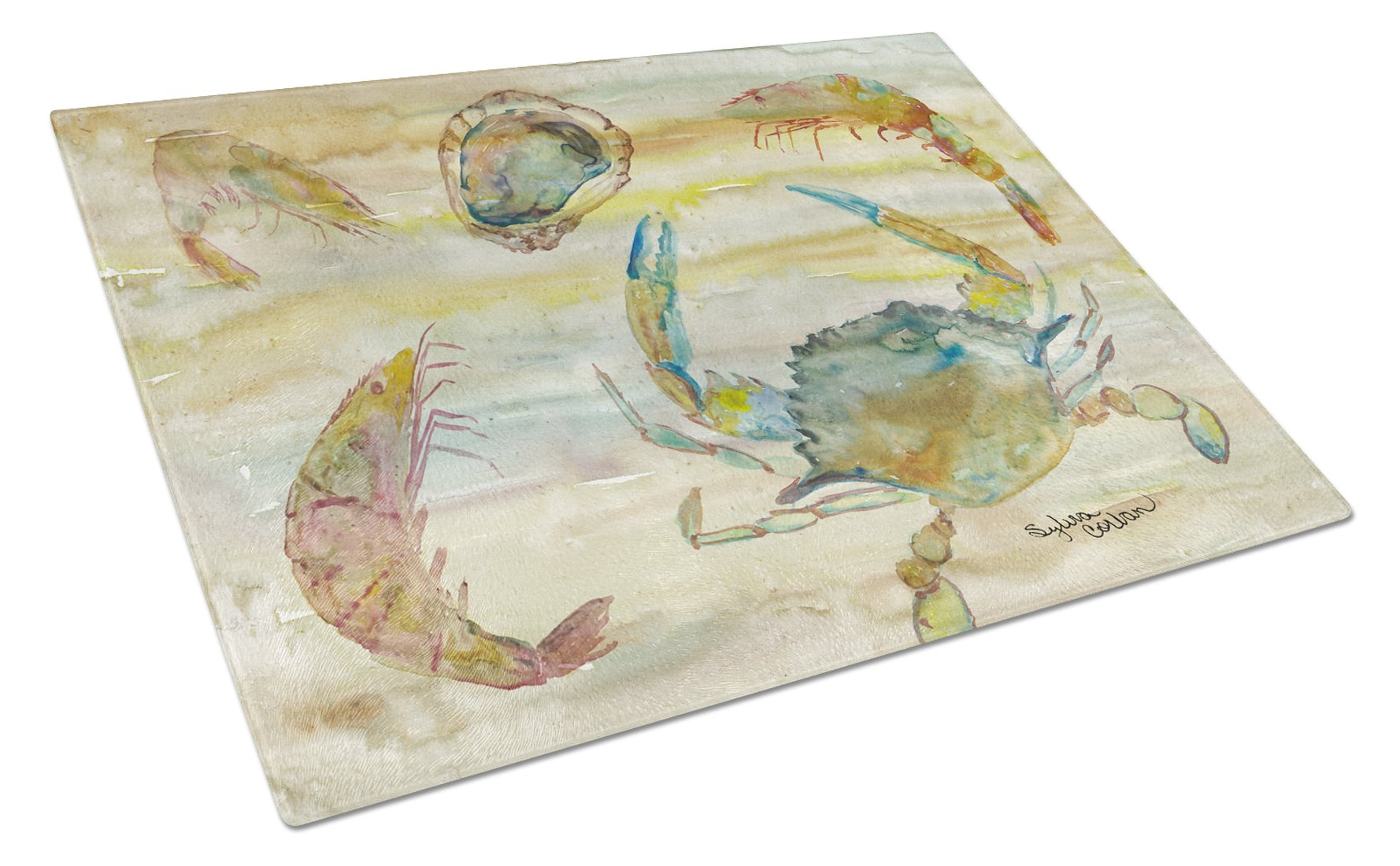 Buy this Crab, Shrimp, Oyster Yellow Sky Glass Cutting Board Large SC2026LCB