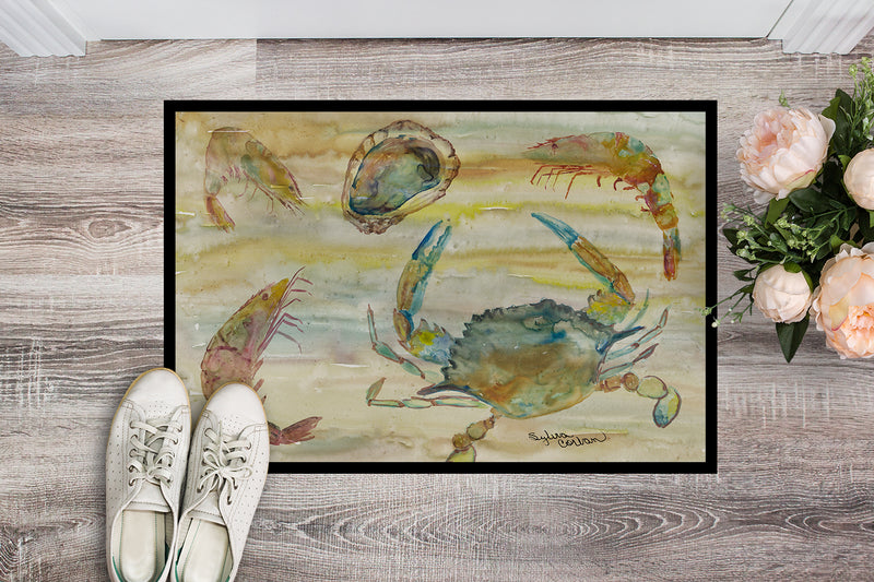 Buy this Crab, Shrimp, Oyster Yellow Sky Indoor or Outdoor Mat 18x27 SC2026MAT