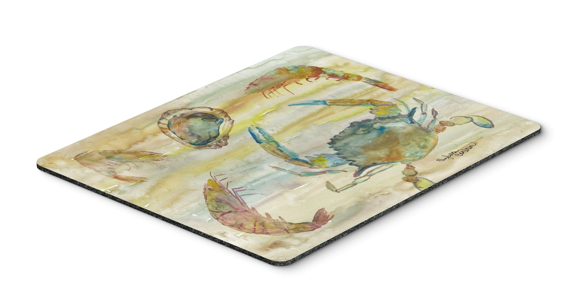 Crab, Shrimp, Oyster Yellow Sky Mouse Pad, Hot Pad or Trivet SC2026MP by Caroline's Treasures