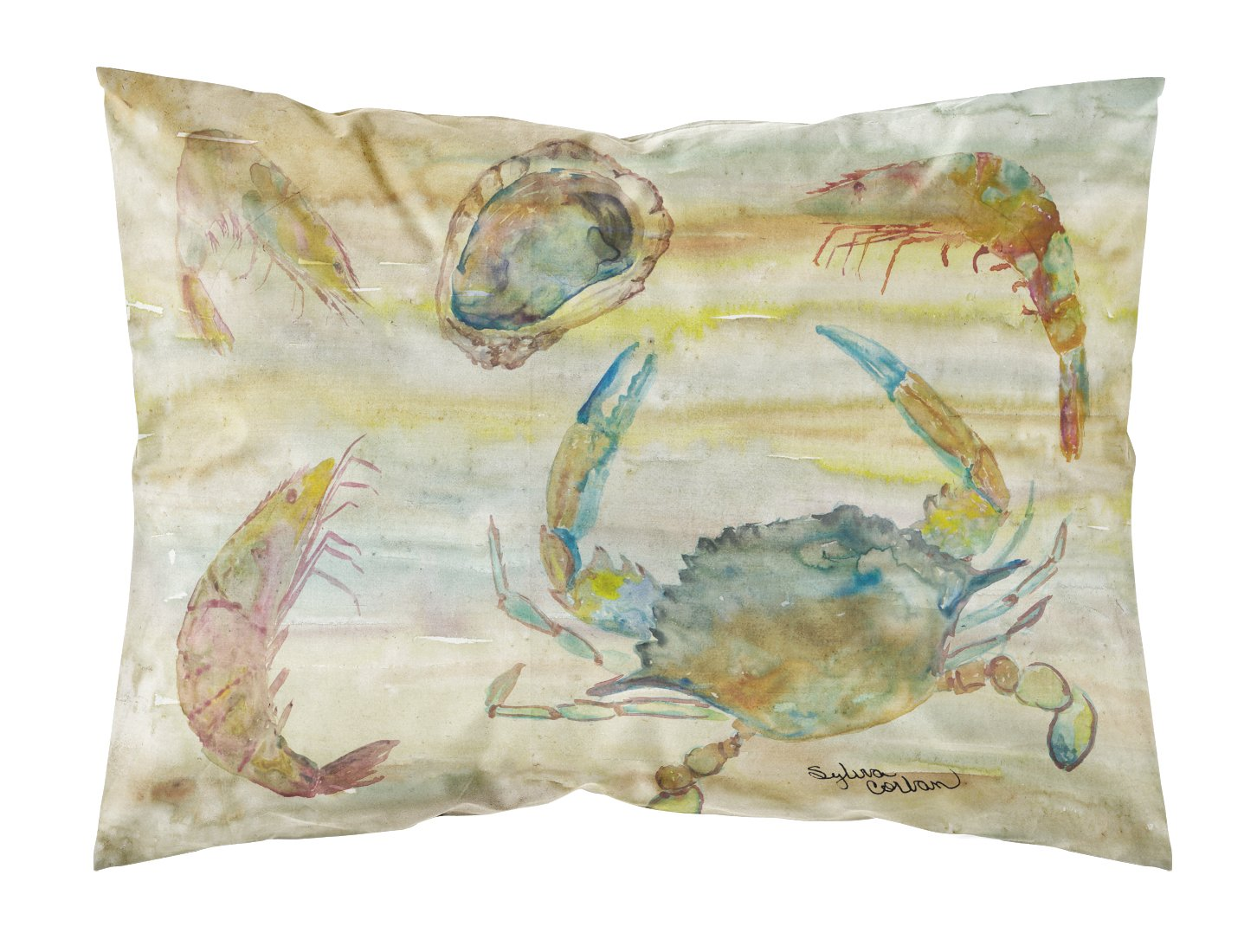 Buy this Crab, Shrimp, Oyster Yellow Sky Fabric Standard Pillowcase SC2026PILLOWCASE