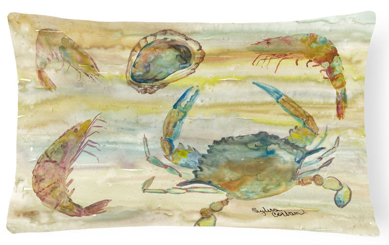 Buy this Crab, Shrimp, Oyster Yellow Sky Canvas Fabric Decorative Pillow SC2026PW1216