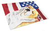 USA American Flag with Bulldog English Glass Cutting Board Large by Caroline's Treasures