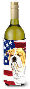 USA American Flag with Bulldog English Wine Bottle Beverage Insulator Beverage Insulator Hugger by Caroline's Treasures
