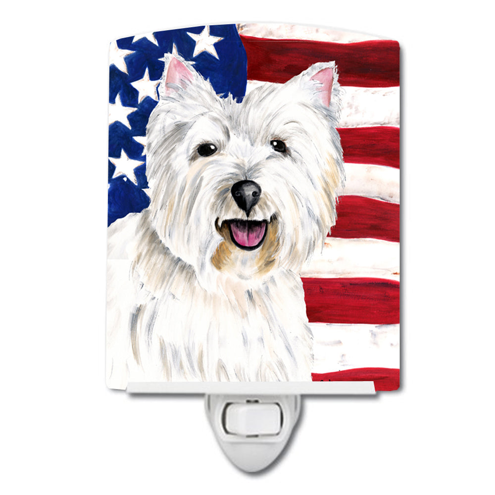 USA American Flag with Westie Ceramic Night Light SC9008CNL by Caroline's Treasures