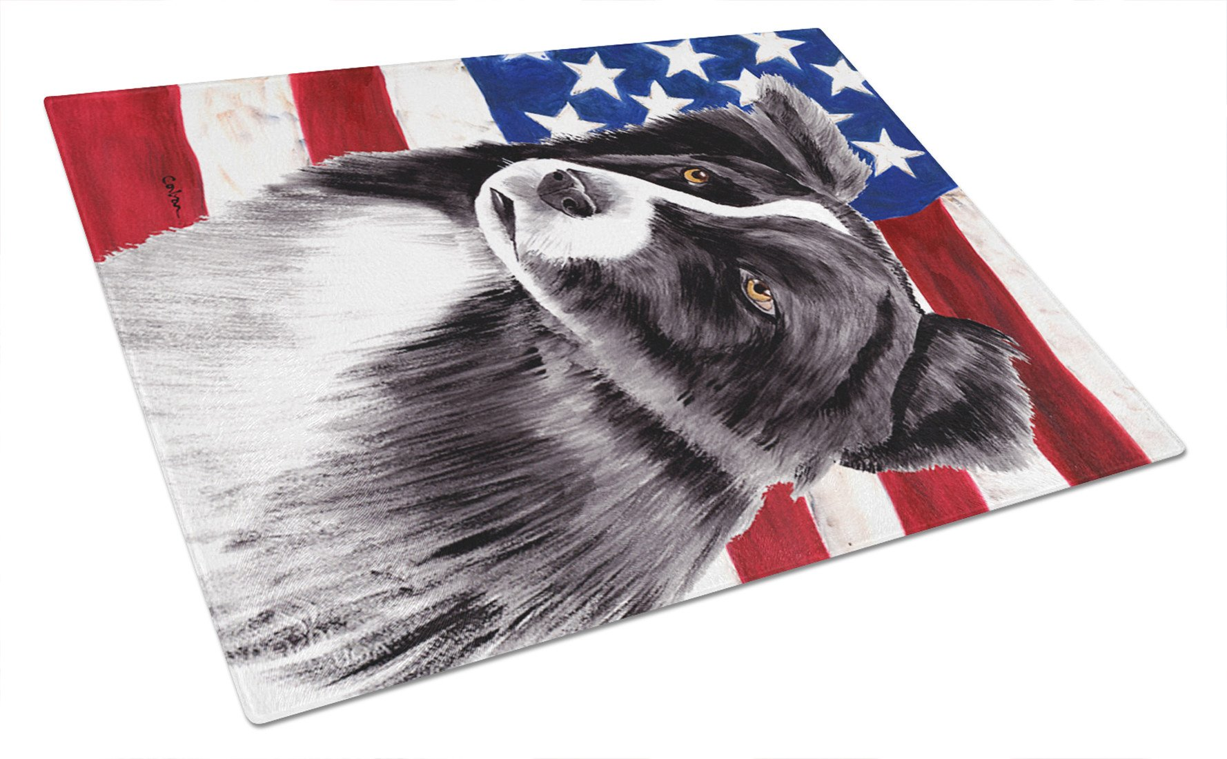 USA American Flag with Border Collie Glass Cutting Board Large by Caroline's Treasures