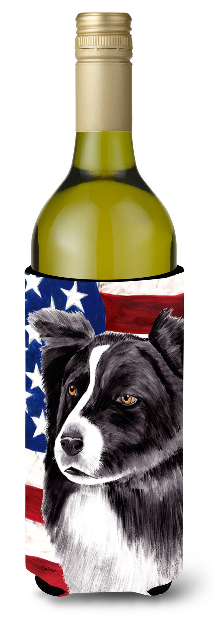 USA American Flag with Border Collie Wine Bottle Beverage Insulator Beverage Insulator Hugger by Caroline's Treasures