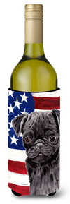 USA American Flag with Pug Wine Bottle Beverage Insulator Beverage Insulator Hugger SC9011LITERK by Caroline's Treasures