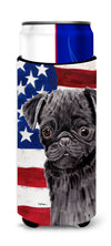 USA American Flag with Pug Ultra Beverage Insulators for slim cans SC9011MUK by Caroline's Treasures