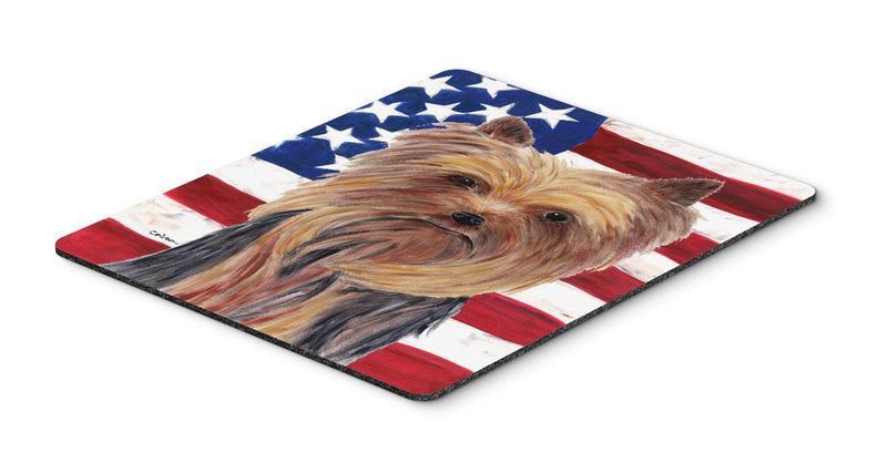 Buy this USA American Flag with Yorkie Mouse Pad, Hot Pad or Trivet