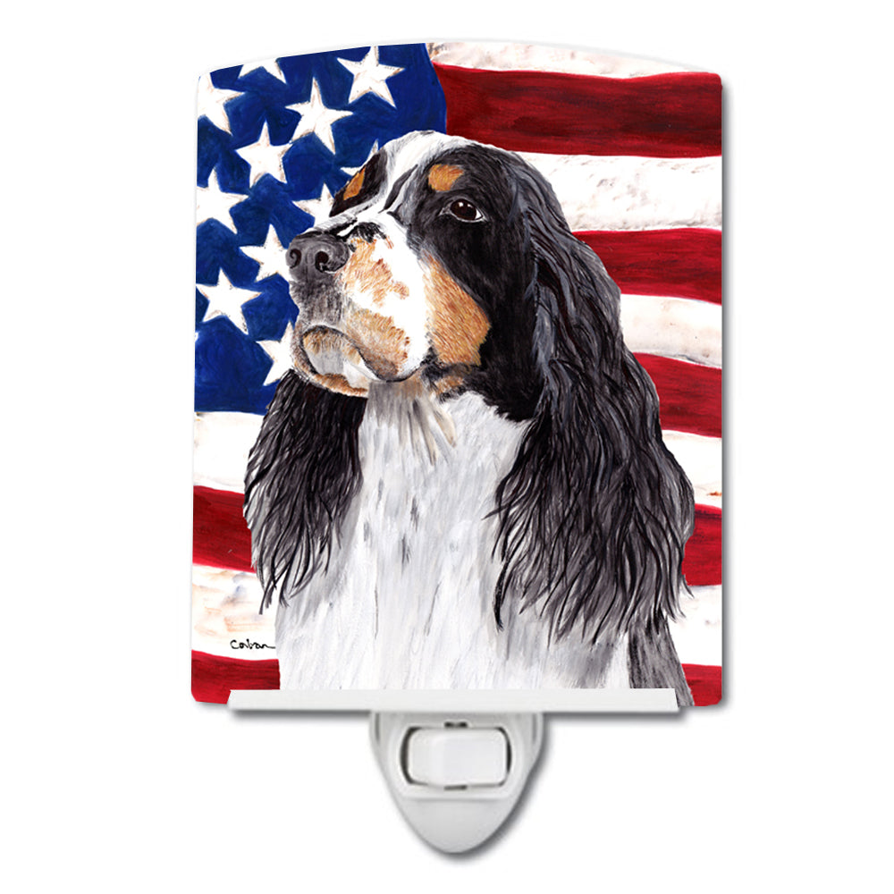 Buy this USA American Flag with Springer Spaniel Ceramic Night Light SC9016CNL