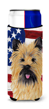 USA American Flag with Cairn Terrier Ultra Beverage Insulators for slim cans SC9017MUK by Caroline's Treasures