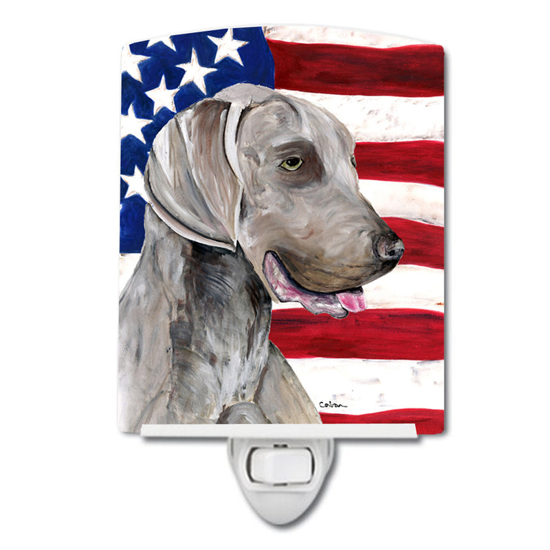 Buy this USA American Flag with Weimaraner Ceramic Night Light SC9021CNL