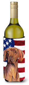 USA American Flag with Vizsla Wine Bottle Beverage Insulator Beverage Insulator Hugger SC9022LITERK by Caroline's Treasures