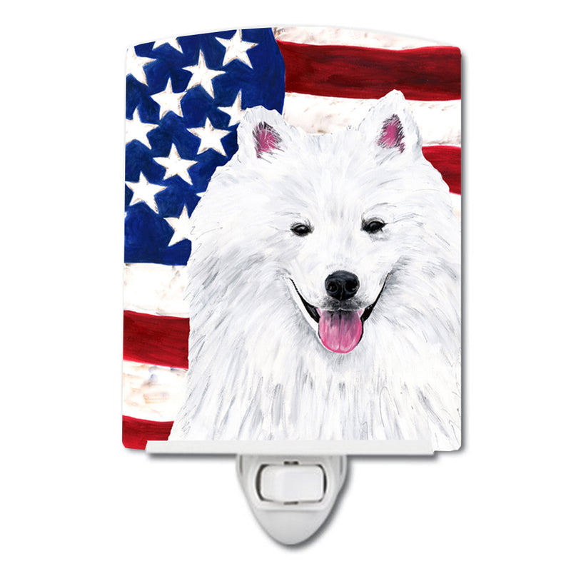 Buy this USA American Flag with American Eskimo Ceramic Night Light SC9023CNL