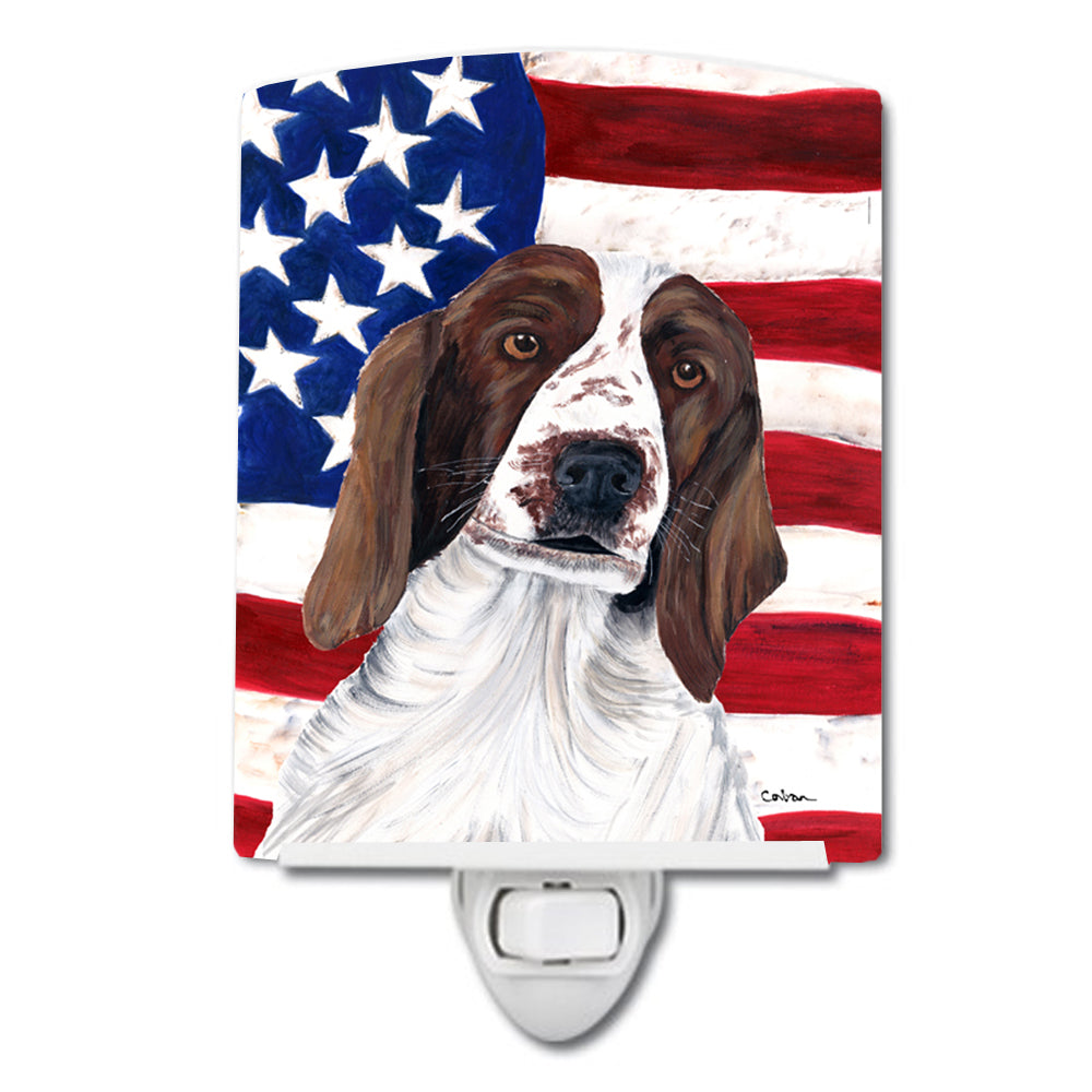 Buy this USA American Flag with Welsh Springer Spaniel Ceramic Night Light SC9024CNL
