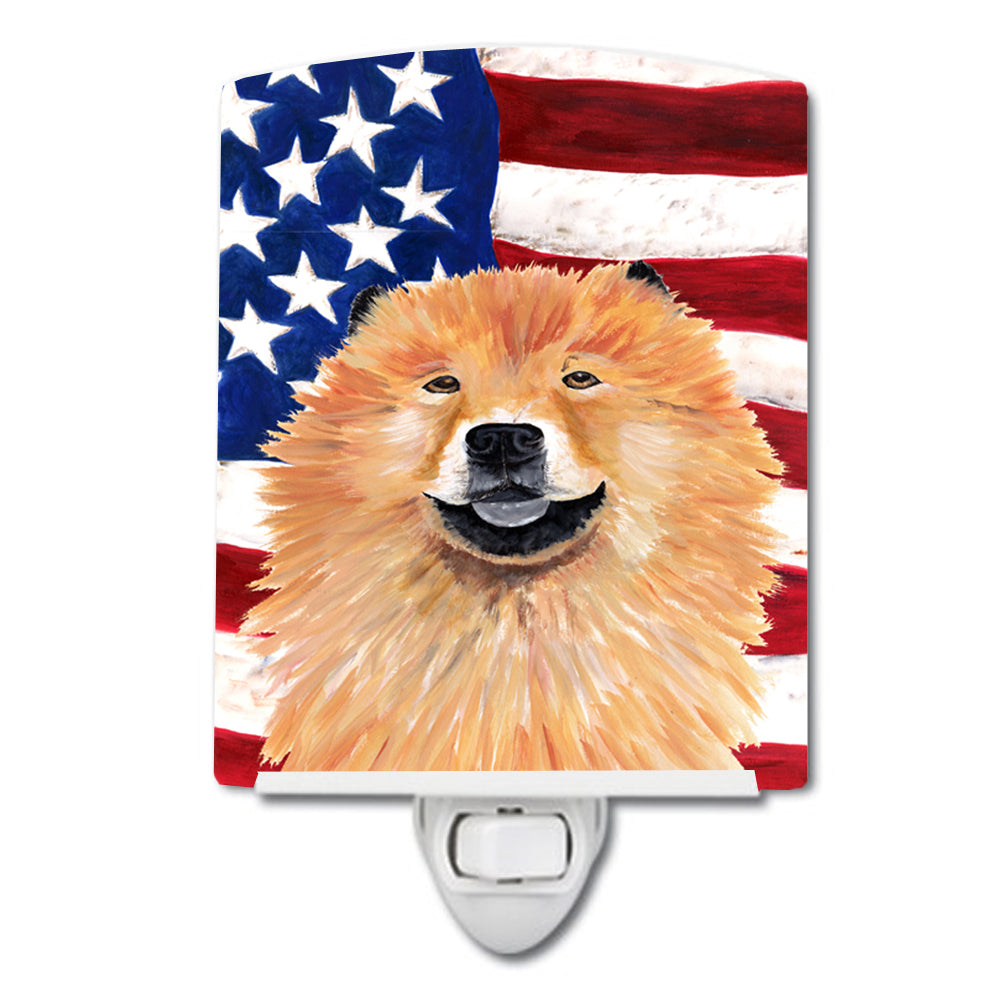 USA American Flag with Chow Chow Ceramic Night Light SC9025CNL by Caroline's Treasures