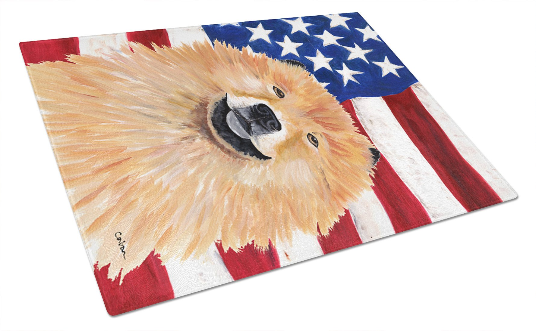 USA American Flag with Chow Chow Glass Cutting Board Large by Caroline's Treasures