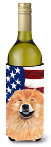 Buy this USA American Flag with Chow Chow Wine Bottle Beverage Insulator Beverage Insulator Hugger