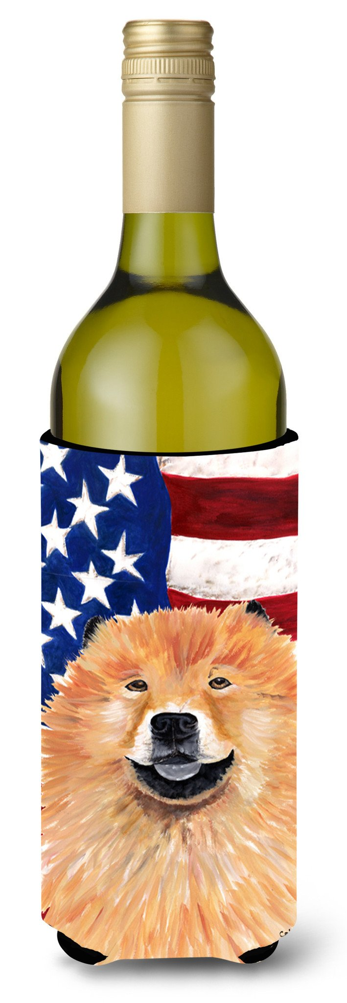 USA American Flag with Chow Chow Wine Bottle Beverage Insulator Beverage Insulator Hugger by Caroline's Treasures
