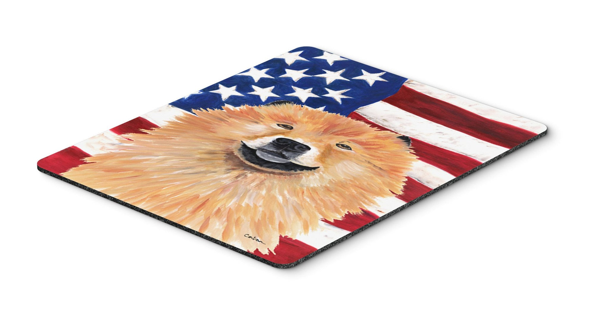 USA American Flag with Chow Chow Mouse Pad, Hot Pad or Trivet by Caroline's Treasures