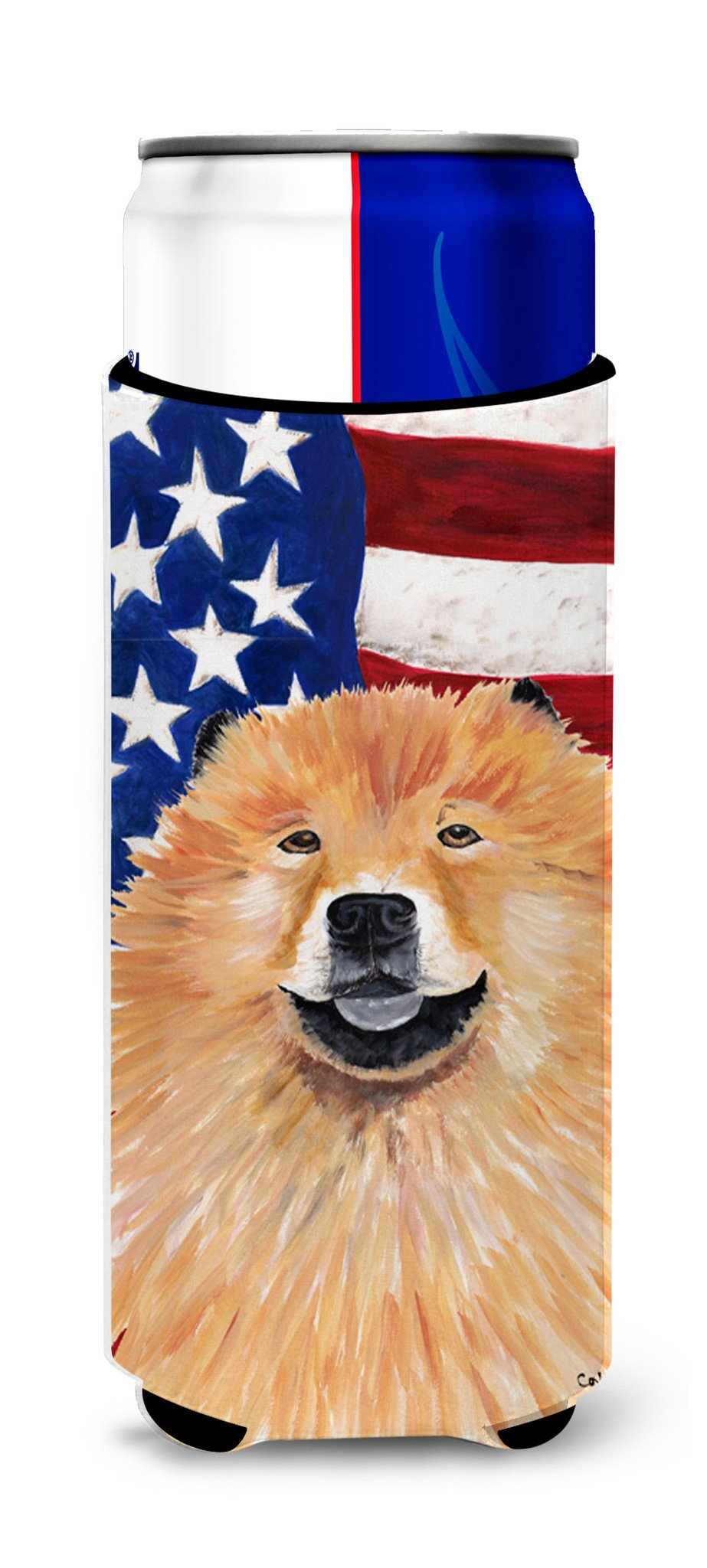 USA American Flag with Chow Chow Ultra Beverage Insulators for slim cans SC9025MUK by Caroline's Treasures