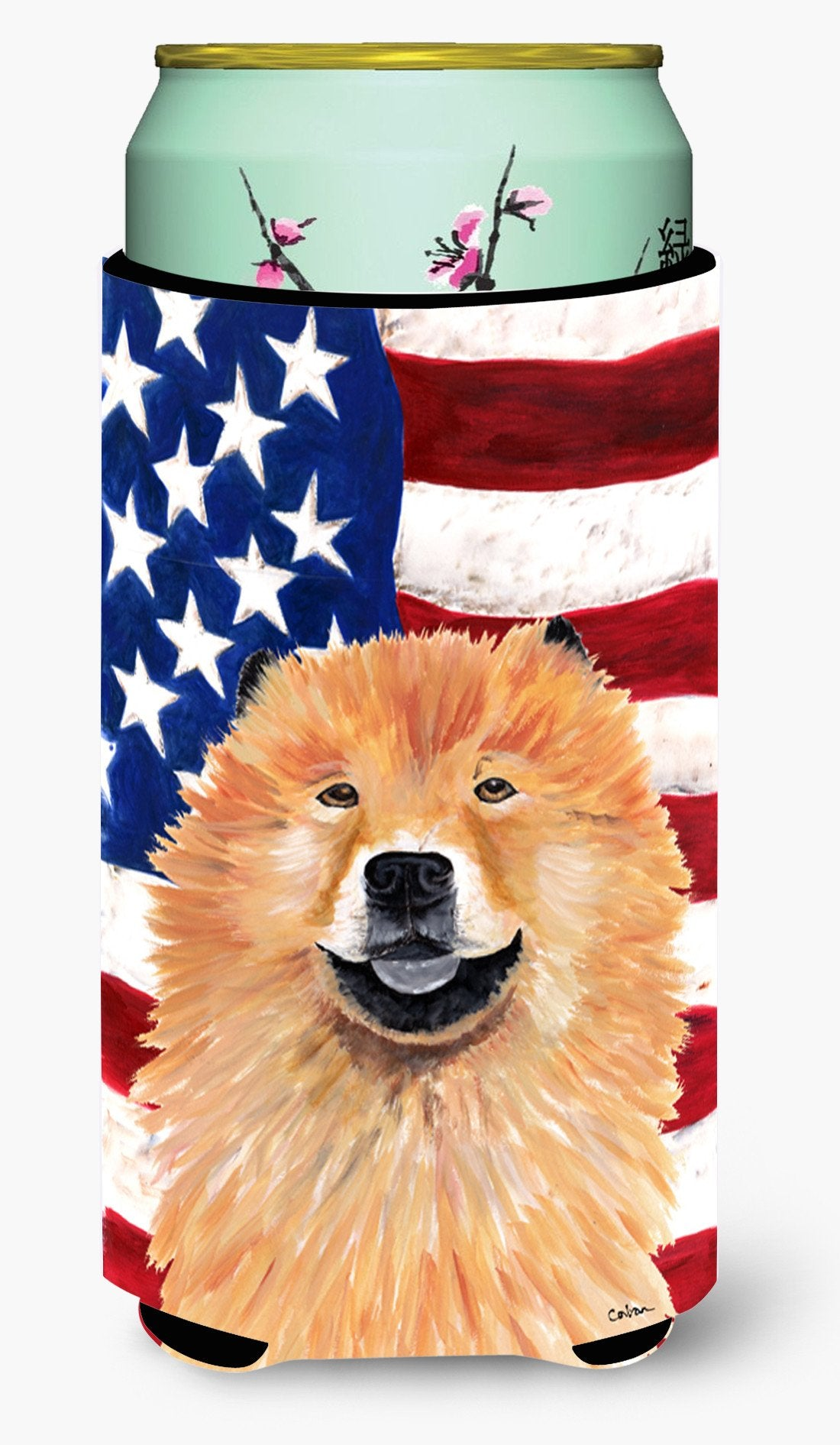 USA American Flag with Chow Chow  Tall Boy Beverage Insulator Beverage Insulator Hugger by Caroline's Treasures
