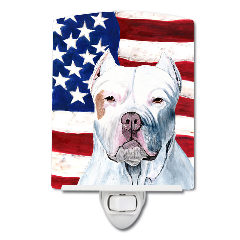 Buy this USA American Flag with Pit Bull Ceramic Night Light SC9026CNL