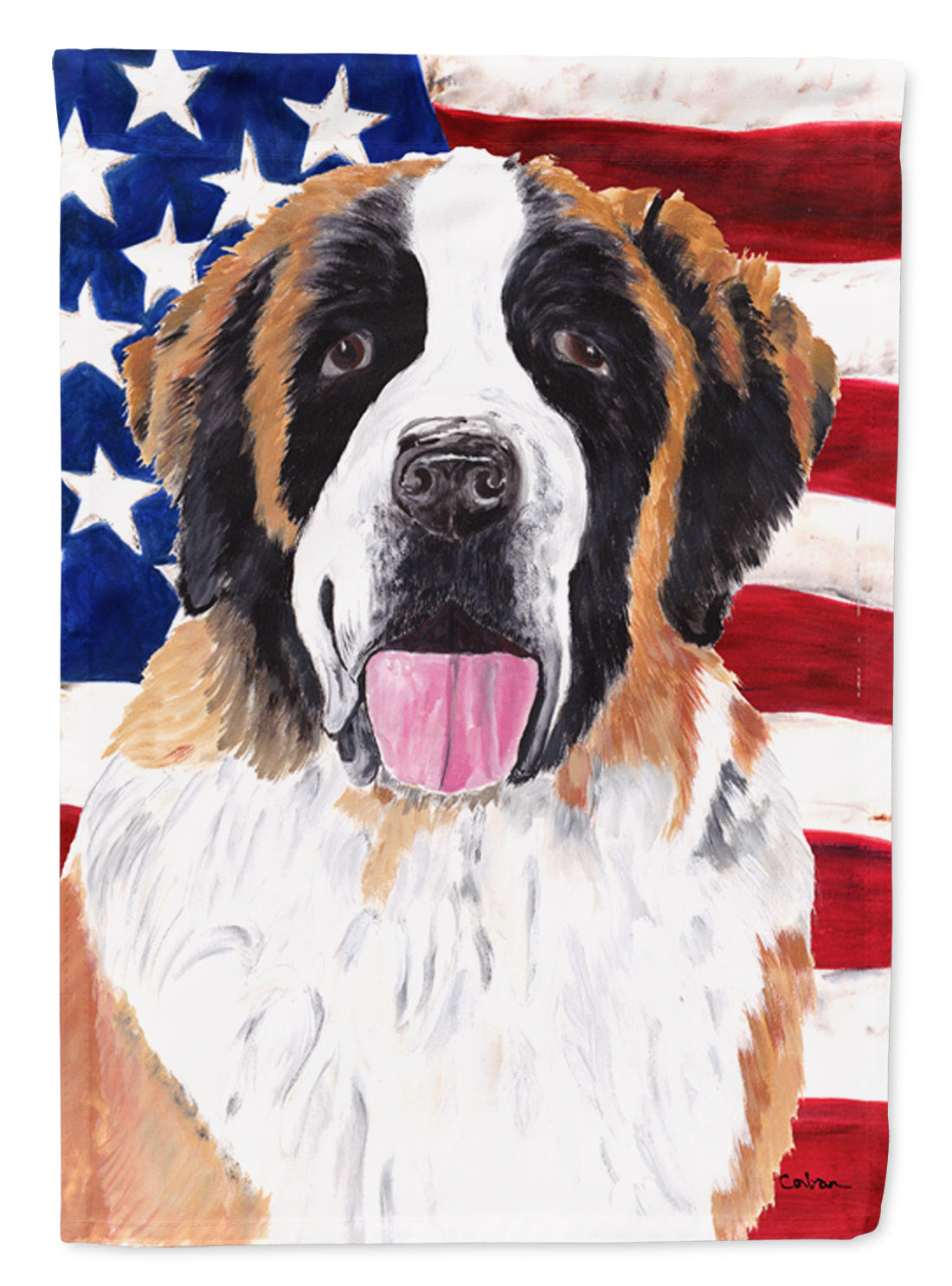 Buy this USA American Flag with Saint Bernard Flag Canvas House Size