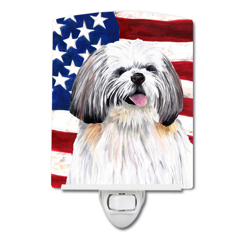 Buy this USA American Flag with Shih Tzu Ceramic Night Light SC9028CNL