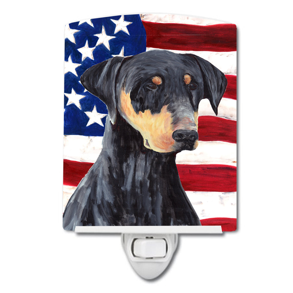Buy this USA American Flag with Doberman Ceramic Night Light SC9030CNL