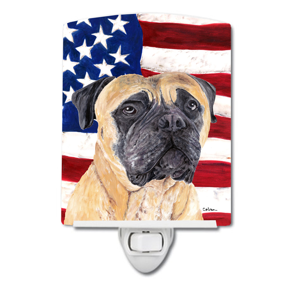Buy this USA American Flag with Mastiff Ceramic Night Light SC9031CNL