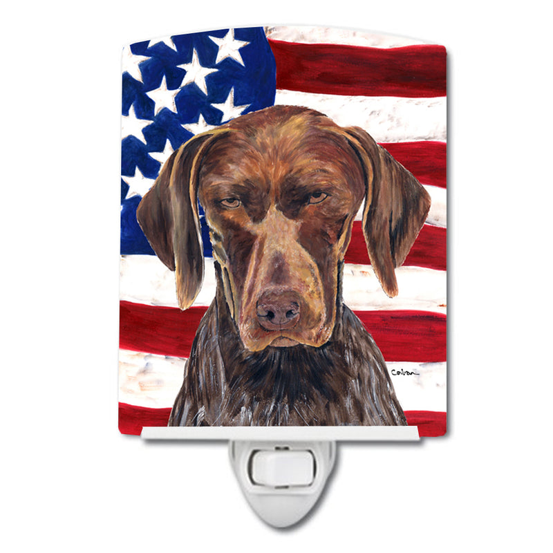 Buy this USA American Flag with German Shorthaired Pointer Ceramic Night Light SC9034CNL
