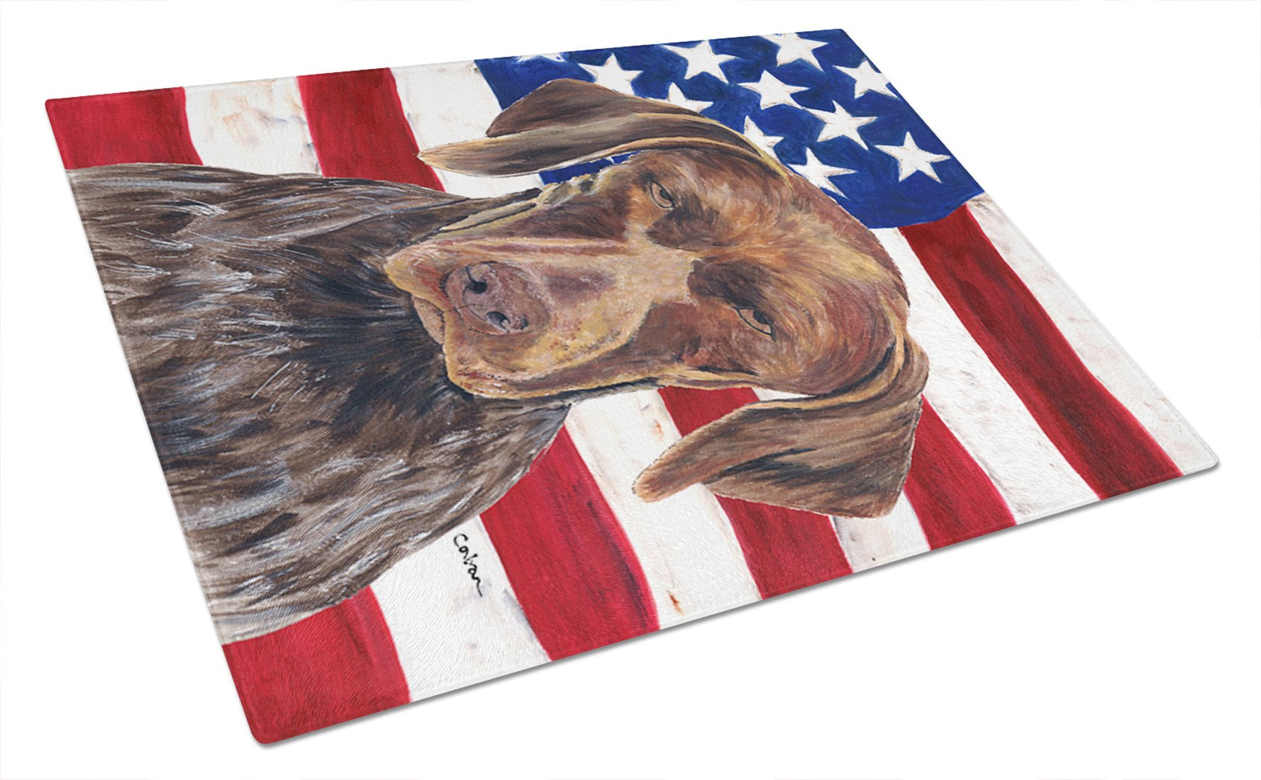 Buy this USA American Flag with German Shorthaired Pointer Glass Cutting Board Large