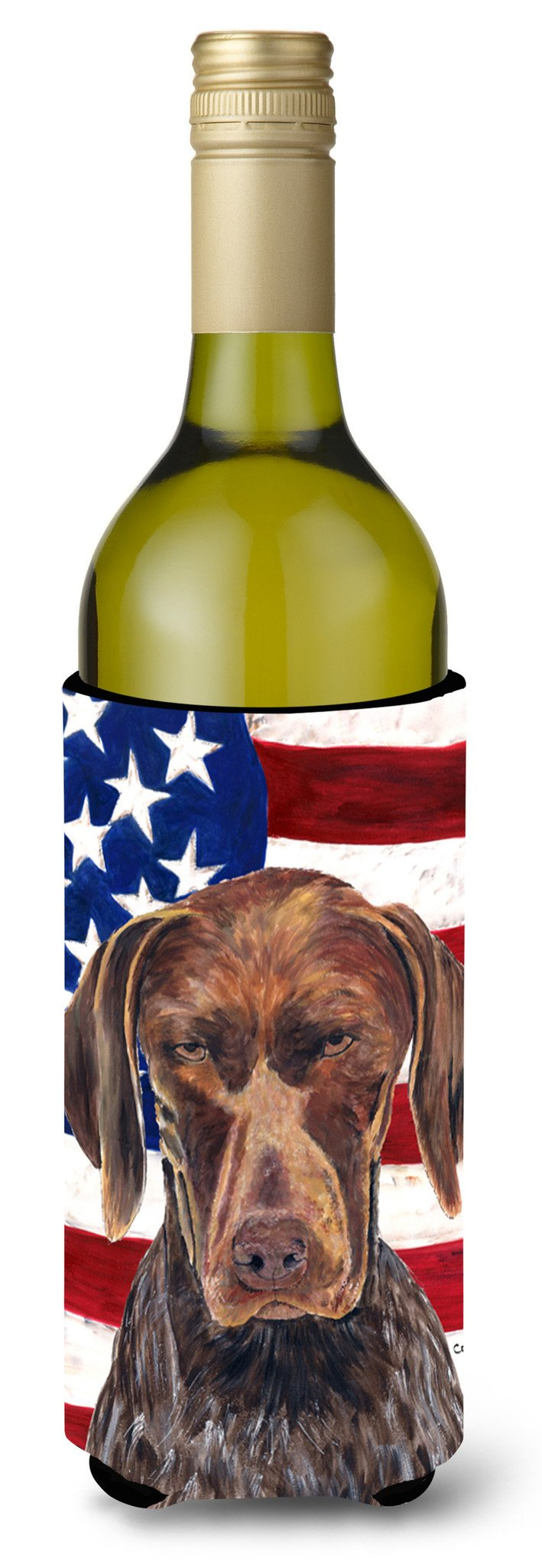 Buy this USA American Flag with German Shorthaired Pointer Wine Bottle Beverage Insulator Beverage Insulator Hugger
