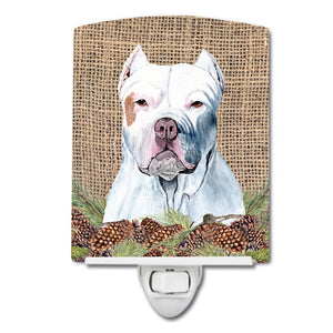 Buy this Pit Bull Faux Burlap and Pine cones Ceramic Night Light SC9042CNL
