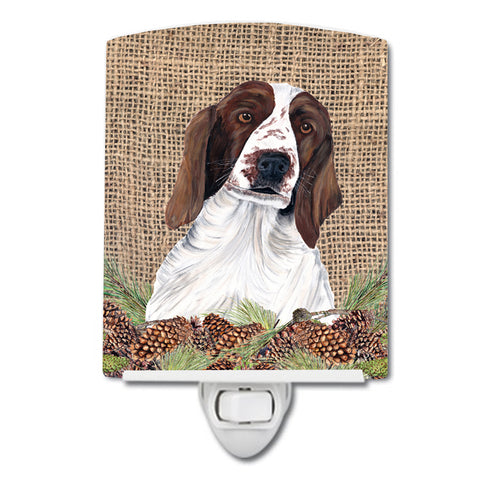 Buy this Welsh Springer Spaniel Faux Burlap and Pine cones Ceramic Night Light SC9043CNL